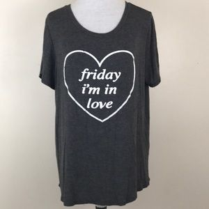 Crescent Friday I'm in Love Short Sleeve Tee Shirt